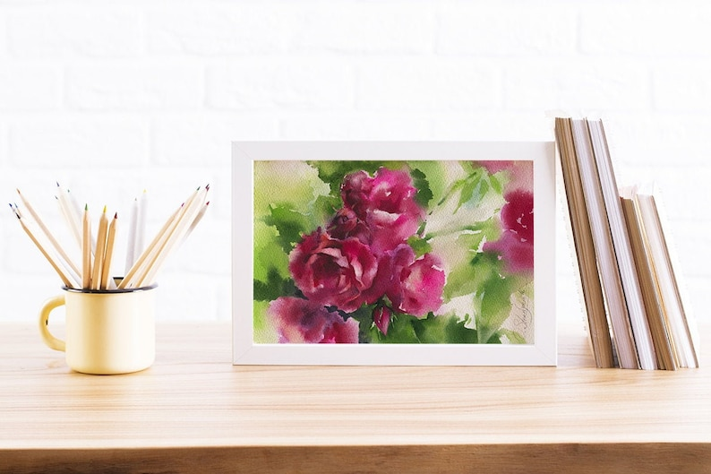 Watercolor rose painting  rose original painting and prints image 0