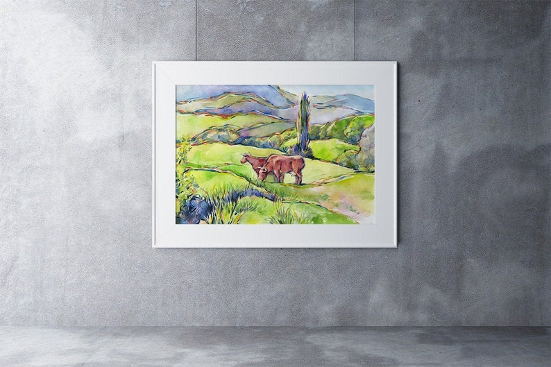 Cows painting watercolor  cows green hills mountains image 0