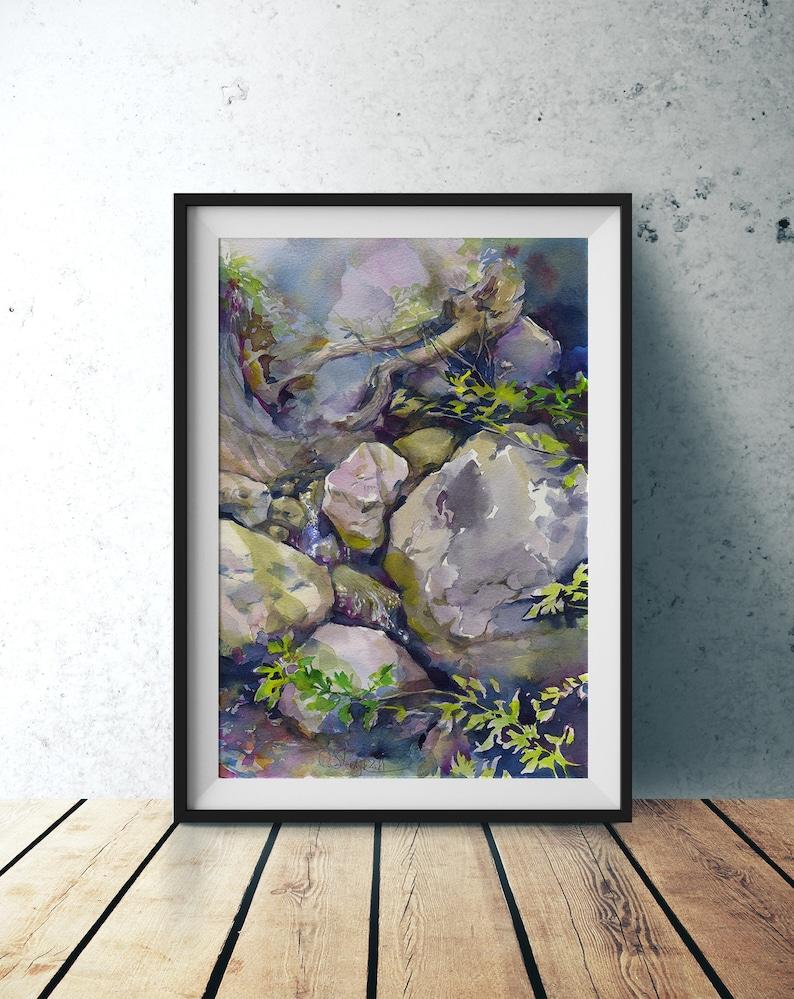 Rocks watercolor original painting  rock painting stones image 0
