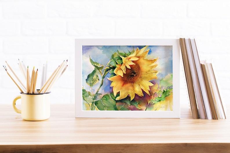 Art print of Sunflower Watercolor painting  sunflower image 0
