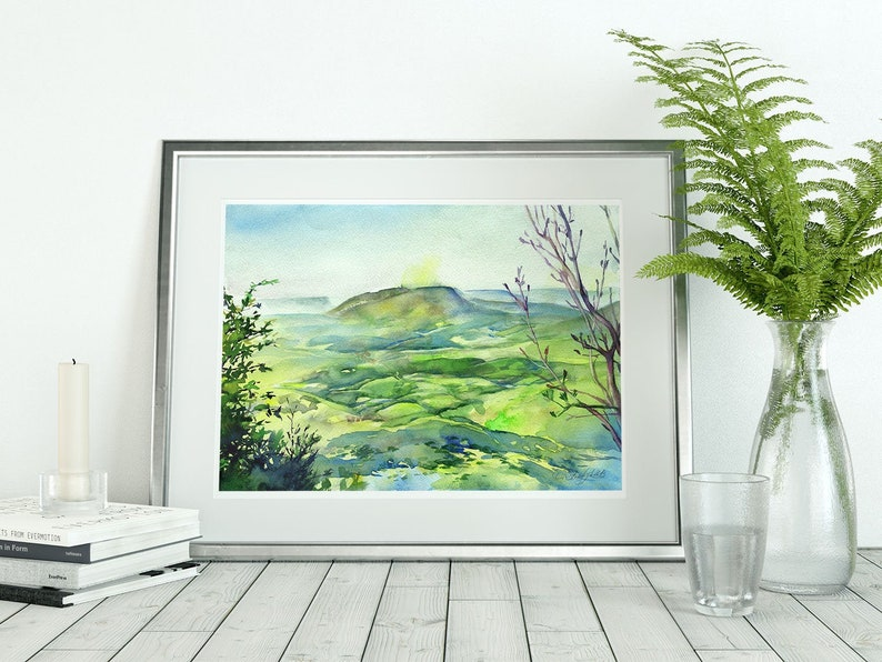Art print of Landscape watercolor painting  green spring image 0