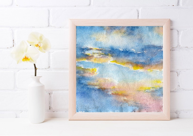 Print of Sunset painting watercolor  blue sky painting. image 0