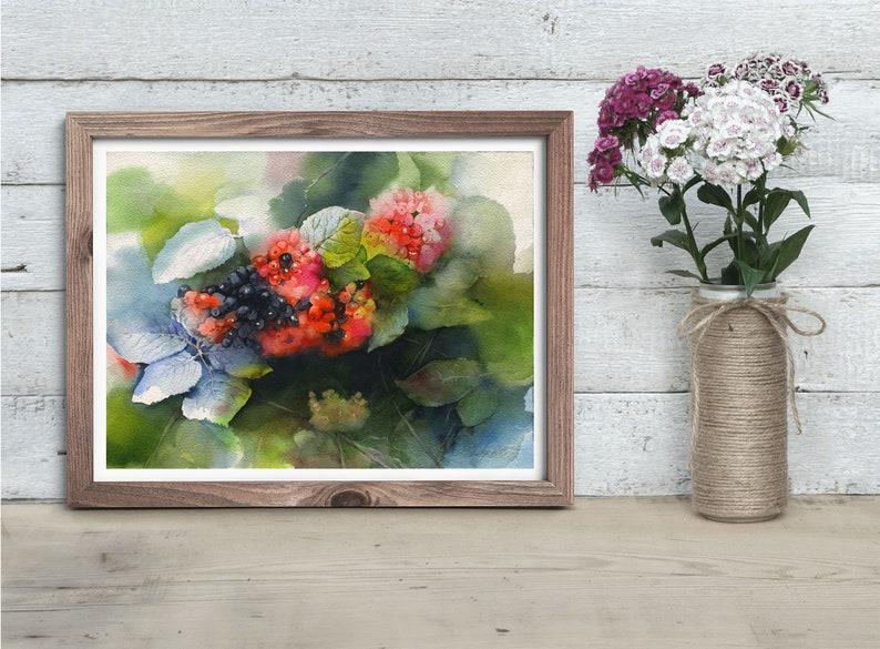 Berries watercolor painting  original elderberry painting or image 0