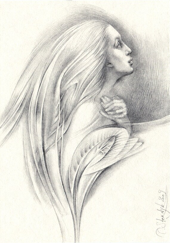 Junge Frau Die Zeichnung Original Bleistift Zeichnung Etsy