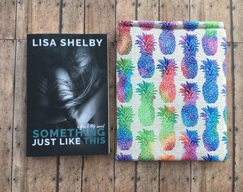 Medium Multi Colored Pinapple Book Sleeve/Gift Idea for Book Lovers/ Book Gift Ideas/ Best Book Covers