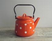 SALE - Orange White Polka Dot Enamel Kettle - Soviet vintage - retro enamelware - country kitchen home decor - farmhouse kitchenware - USSR