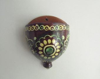 Vintage Ceramic Hanging Vase - wall hanging planter - Ukrainian folk art - wall pocket - green brown yellow flower vase  - USSR