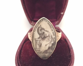 Georgian Mourning Ring with Sepia Miniature