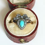 RESERVED for X:  Victorian Turquoise and Diamond Heart Ring