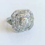 RESERVED:  Art  Deco Ring with Old Mine Cut Diamonds