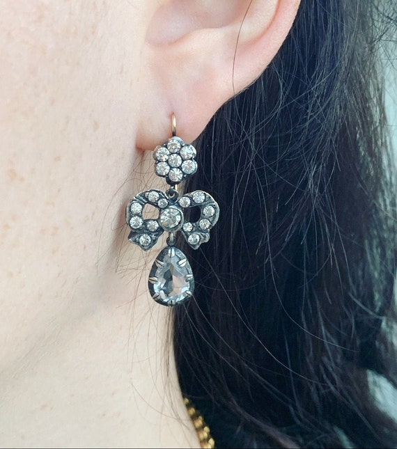 Early Victorian Rock Crystal Paste Earrings