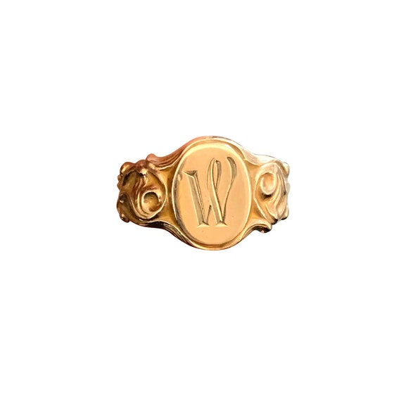 Art Nouveau Signet Ring with Initial W