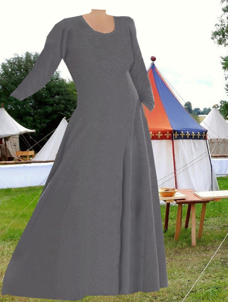 Renaissance Costume Gray SCA Garb Medieval Dress 6 Gore Kirtle Undergown  Cotehardie Cotton lxl FREE SHIP