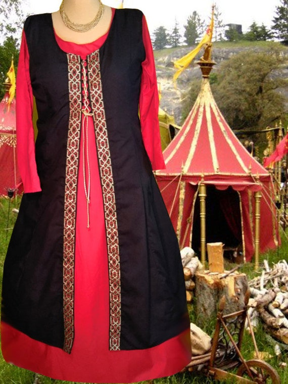 Renaissance Dress 2pcSet SCA Garb Medieval Costume Cotton 6Gore  Front-Lacing Midnight Surcote Blood Kirtle lxl FREE SHIP