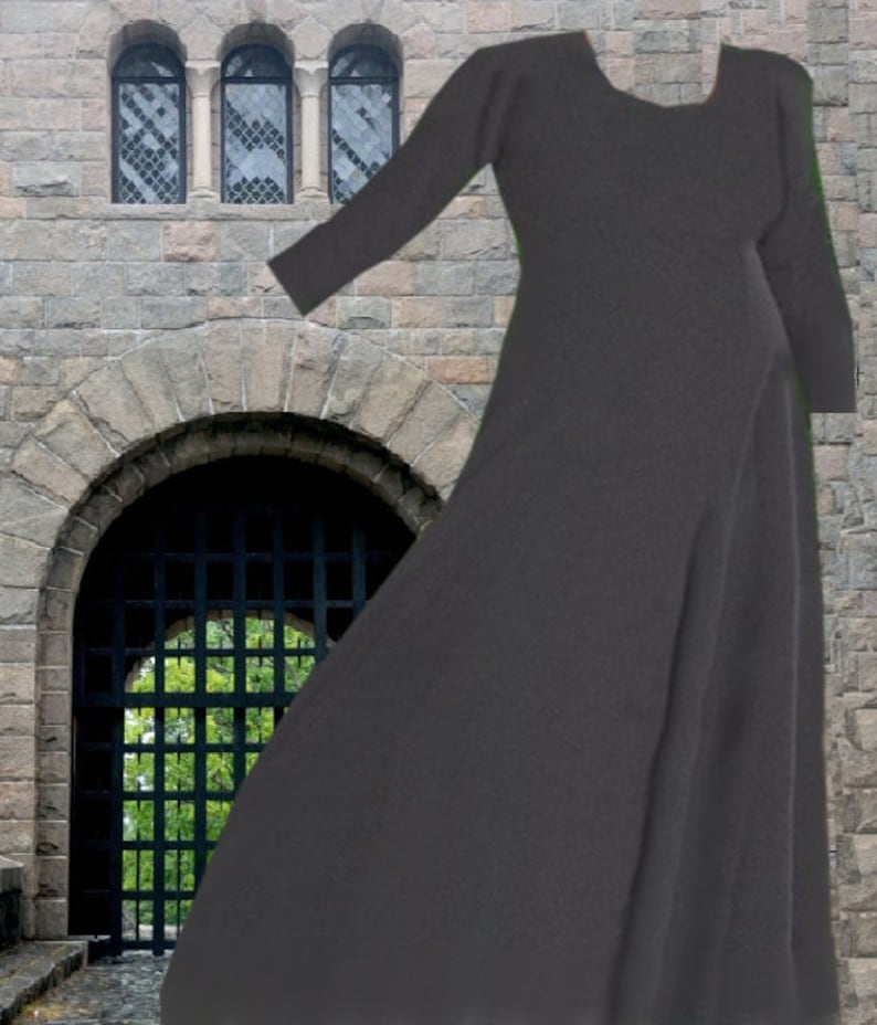 Renaissance Costume SCA Garb Medieval Gown 6 Gore Cotehardie Kirtle  Charcoal Gray Cotton lxl FREE SHIP