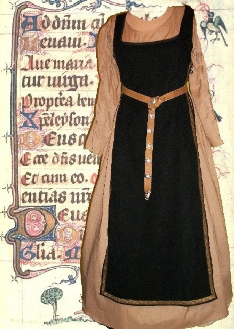Renaissance Gown Medieval Costume SCA Garb Medieval Midnight Tabard Tan  Kirtle 2pc Sdlacg Sz Flex lxl FREE SHIP