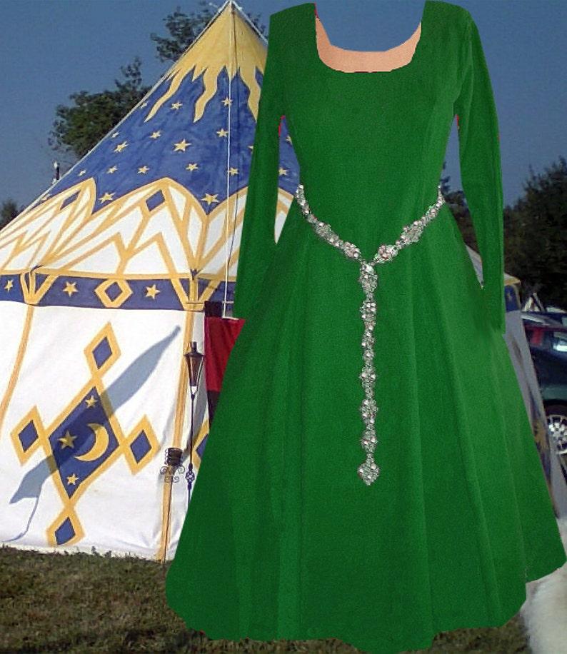 Medieval Gown Renaissance Costume SCA Garb Cotehardie Color Choice LinenBld  6 Gore 1pc lxl FREE SHIP