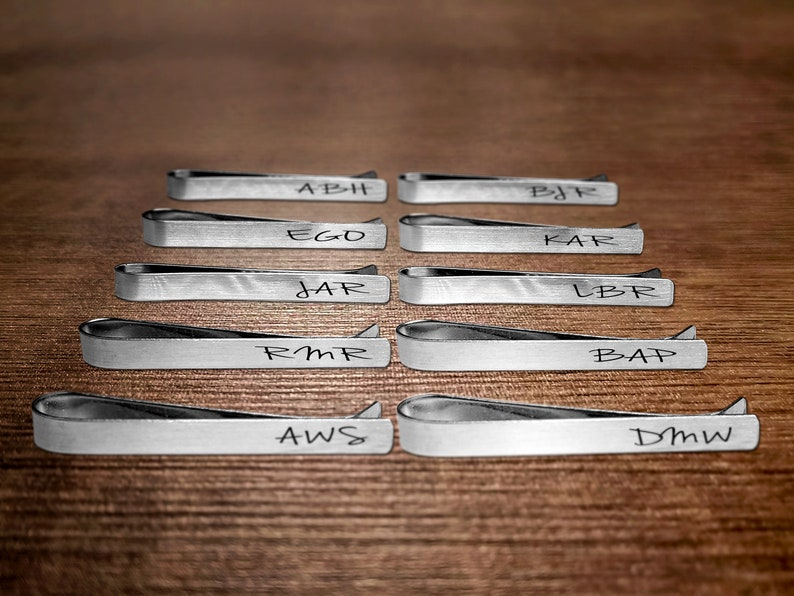 Personalized Groomsmen Gift Idea  Set of 10 Custom Tie Clips  Personalized Tie Clips  Custom Groomsmen Gift