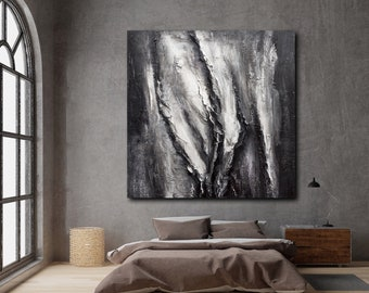 Painting Original ABSTRACT WALL ART  Black White Painting on Canvas Texture Wall Art Acrylic Modern Contemporary Large Wall Art Square