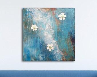 Strutturata astratta acrilico pittura originale tela astratta parete arte  fiore tavolozza coltello Abstract Home Decor moderno contemporaneo bianco  blu c98c68379f02