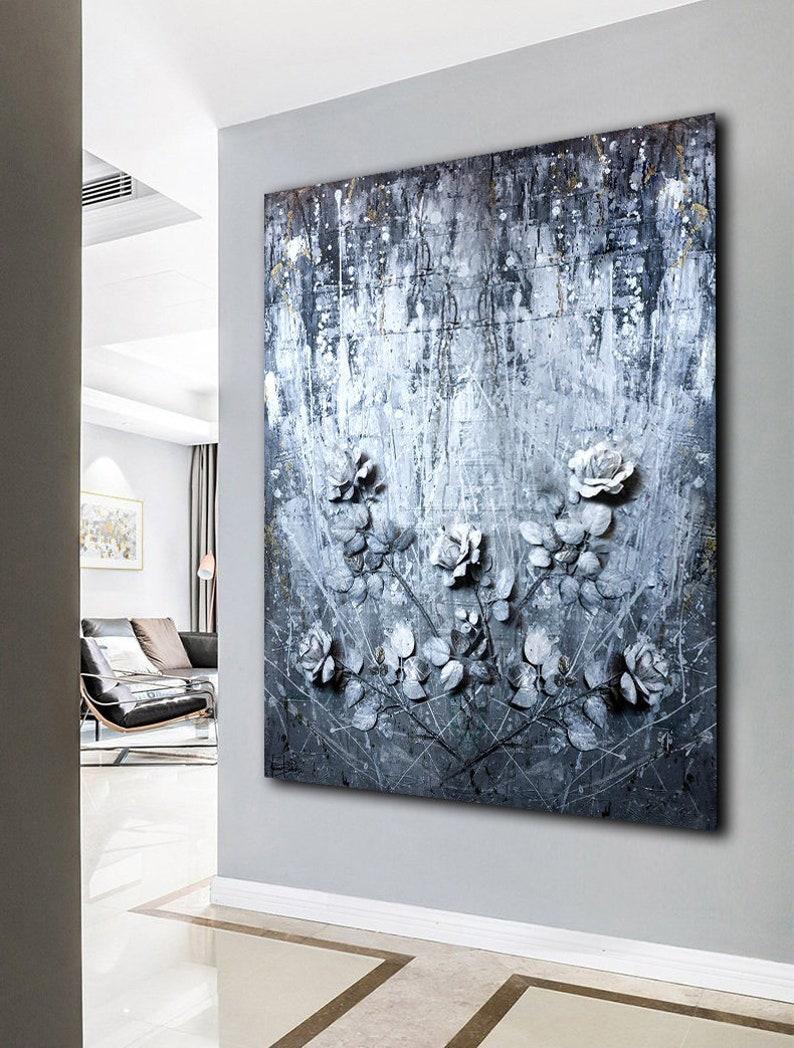 Modern Abstract Painting on Canvas original Large 3d Wall Art Flower  Texture Silver Wall Art Sculpture Abstract Wall Art Contemporary Art