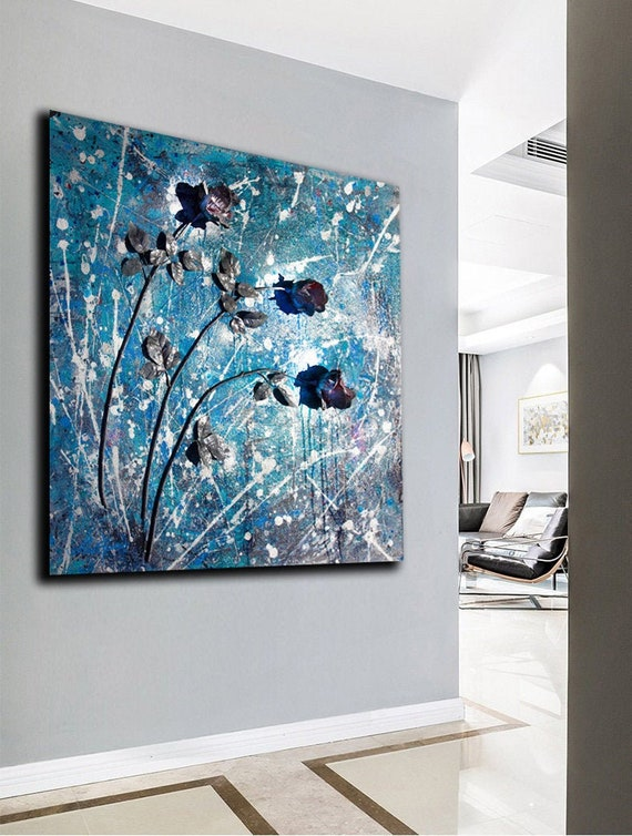 Resin Art Abstract Painting On Canvas Modern 3d Wall Art Flower Sculpture Resin Wall Art Original Painting Acrylic Painting Silver Blue Rose