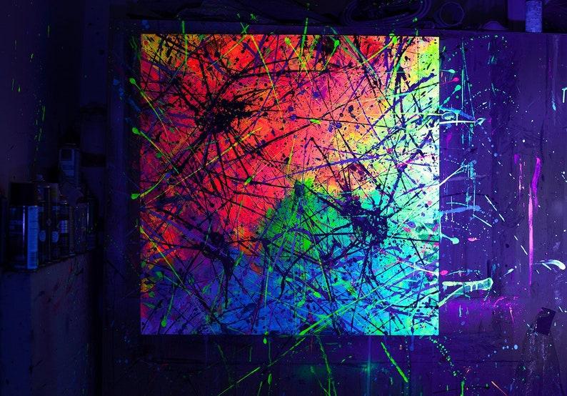 Vernici Fluorescenti Per Pareti.Arte Della Parete Astratta Pittura Uv Pittura Colorata Etsy