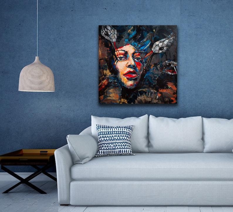 e92d7bc0ba6 Art PAINTING Abstract Woman Portrait Acrylic Canvas Modern