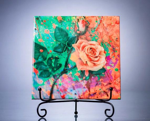 Flower Art Tile Ceramic Resin Art Home Decor Accessories Modern Home Decor Bathroom Decor New Home Gifts Housewarming Rose Mothers Day Gift