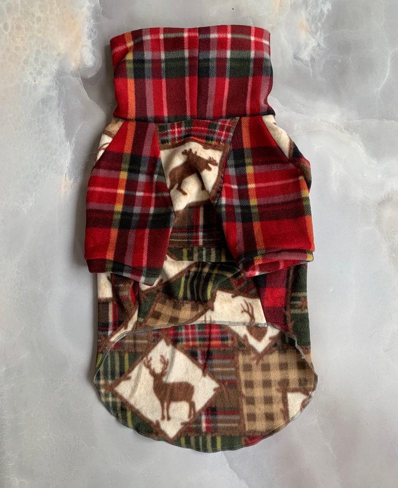 TOOTH /& HONEY  medium dog sweater  pitbull sweater  big dog sweater  fleece dog sweater  winter print