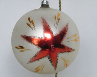 Vintage large mercury glass Christmas bulb Ornament With red Christmas Star on it believe made in Austria