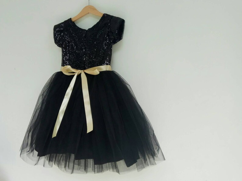07e4b0e71 Sequin black flower girl dress with gold bow black tutu | Etsy