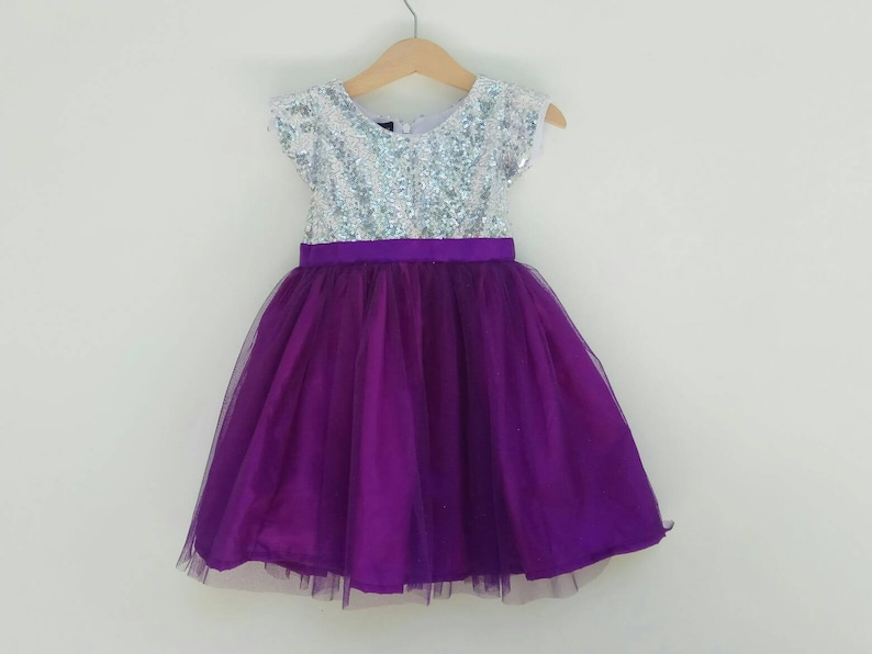 92a9a3cee47 Silver and Purple Flower girl dress Purple tutu dress Silver