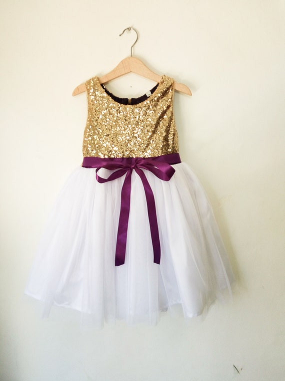 Flower girls dress gold white and purple gold sequined etsy image 0 mightylinksfo