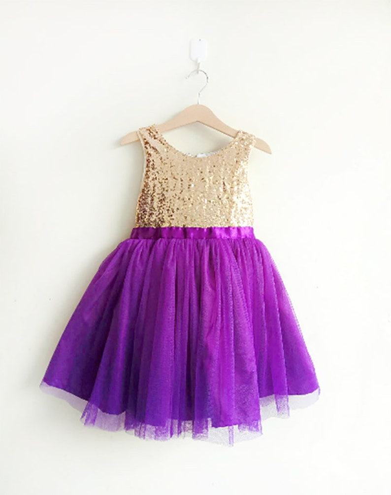 a453ac9f8 Gold and Purple flower girl's dress gold sequined and   Etsy