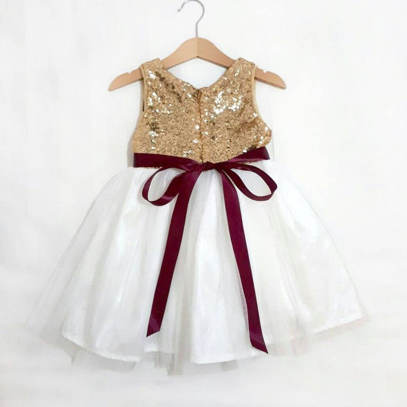 9567211bc84 Gold Burgundy Flower girl dress with white or ivory tulle