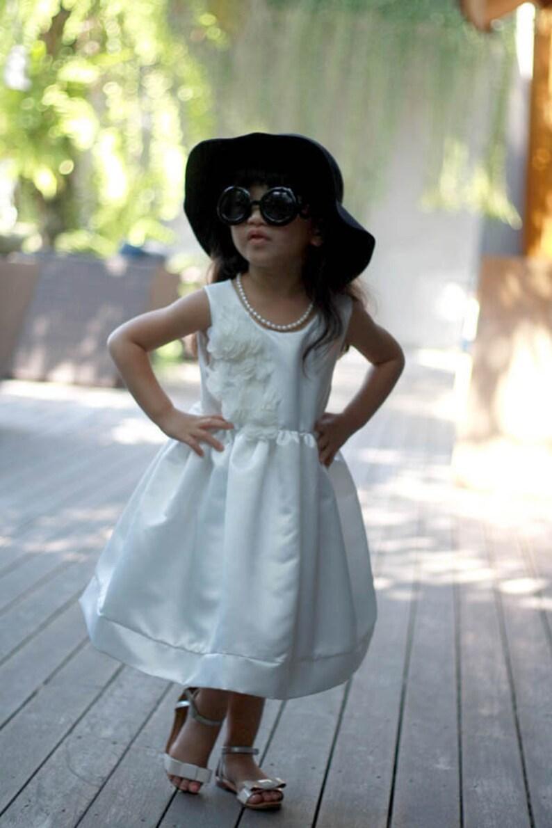 b1476f77f Plain Ivory Satin Flower Girl Dress