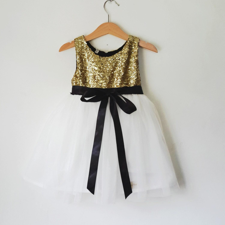 Gold And White Flower Girl Dress Gold And Black Flower Girl Etsy