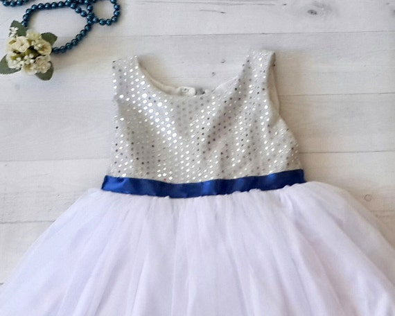 Silver and royal blue flower girls dress silver white etsy image 0 mightylinksfo