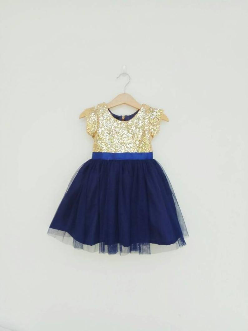 b9ee6c4d1 Flower girl dress gold and navy girl dress Tutu girl | Etsy