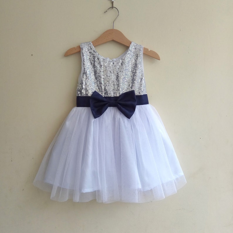 889031892ab Flower girl dress navy sash silver and white flower girls