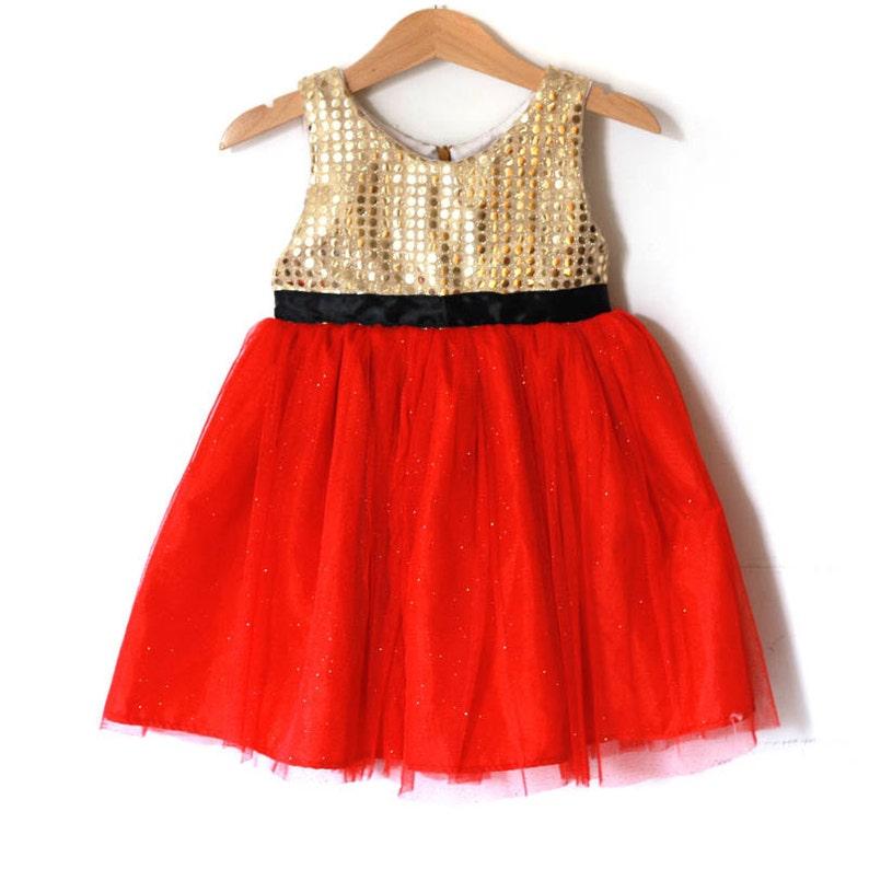 7f1c6f59e0cc2 Or et rouge robe de Noël pour fille robe de bébé Robe tutu