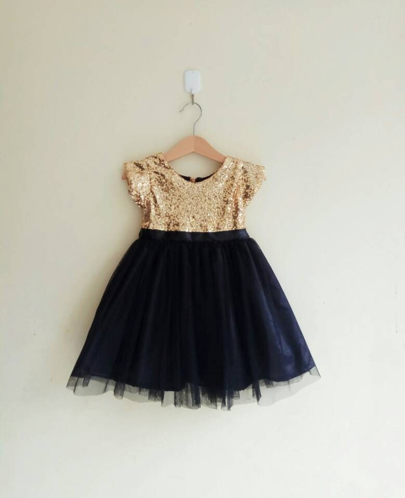 cb6e1f45fda Flower girl dress gold and black with sleeves gold sequined