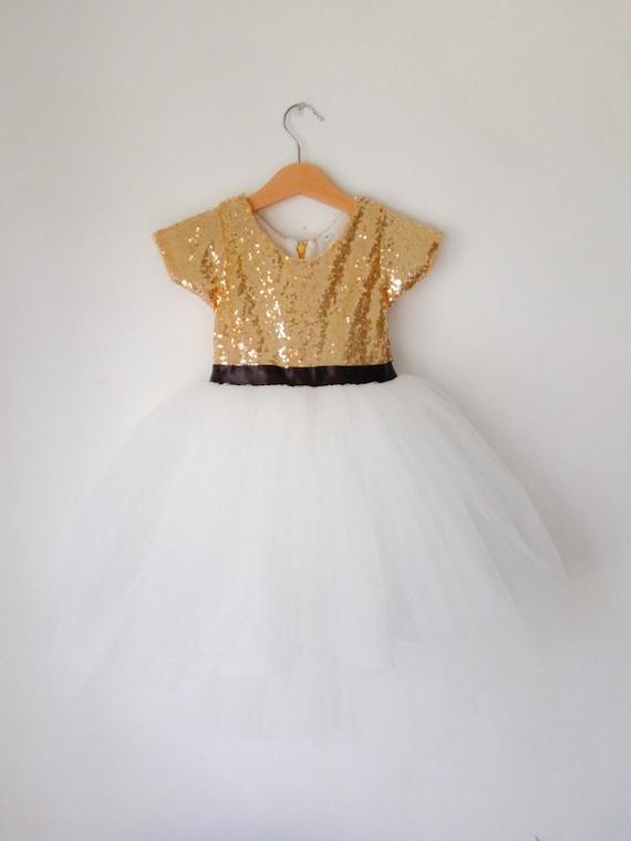 Flower Girl Dress Gold And White Gold Toddler Dress Tutu Etsy