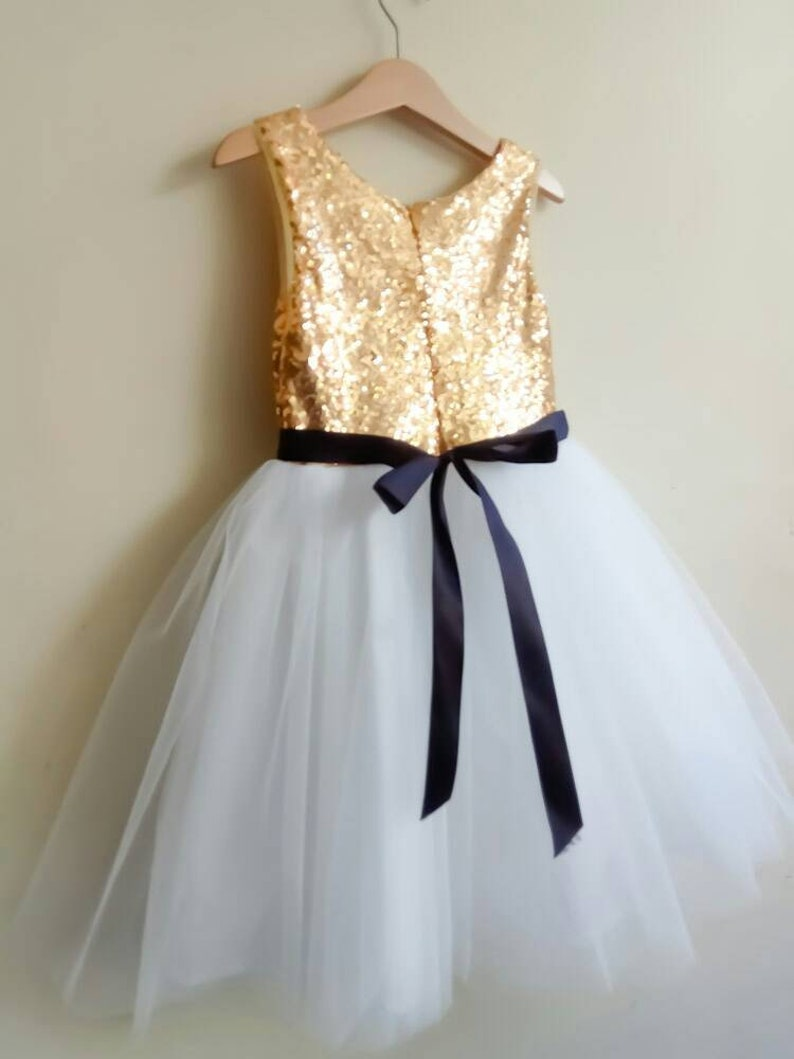 97d7085afca Flower girl dress in gold and white tutu White or Off white