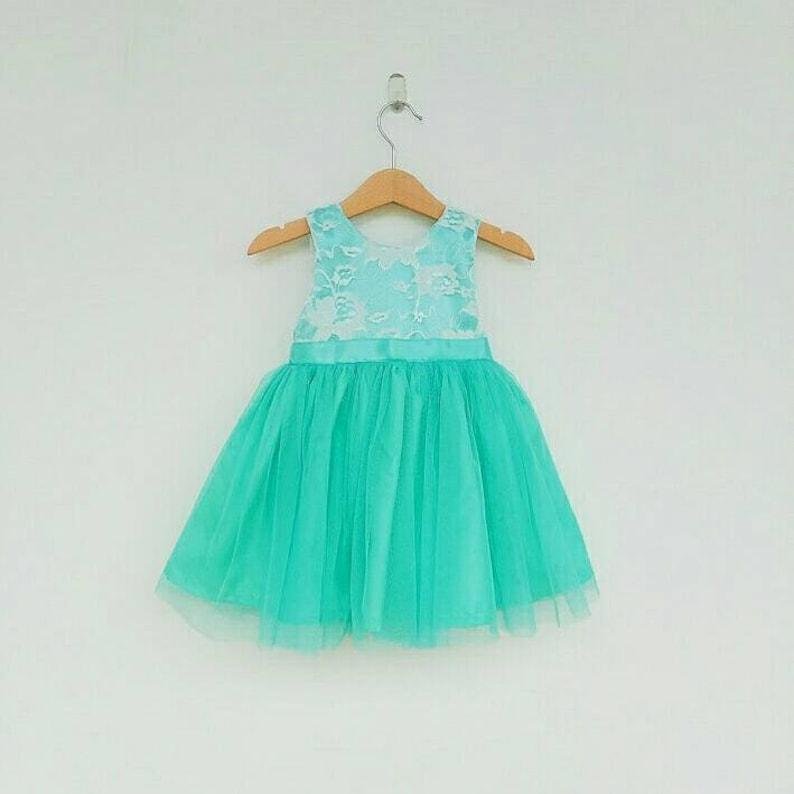 16972b8b516c Turquoise Flower Girl Dress Lace flower girl dresses Beach | Etsy
