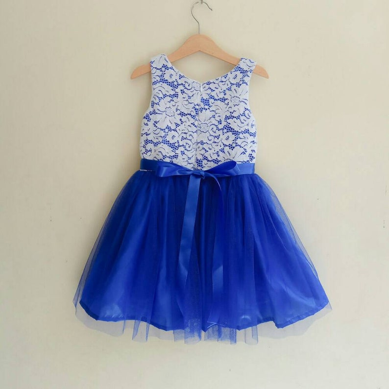 95e8061c18cae Lace Flower girl dress royal blue white and blue girl dress | Etsy