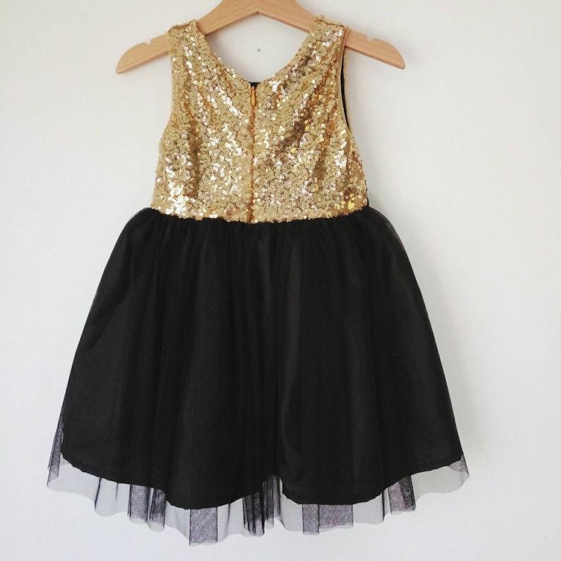 wholesale dealer ea09e ea5df Oro e nero fiore vestito ragazza, oro zecchino e tutu nero vestito ragazza,  vestito di Natale della ragazza, ragazza abito da sera