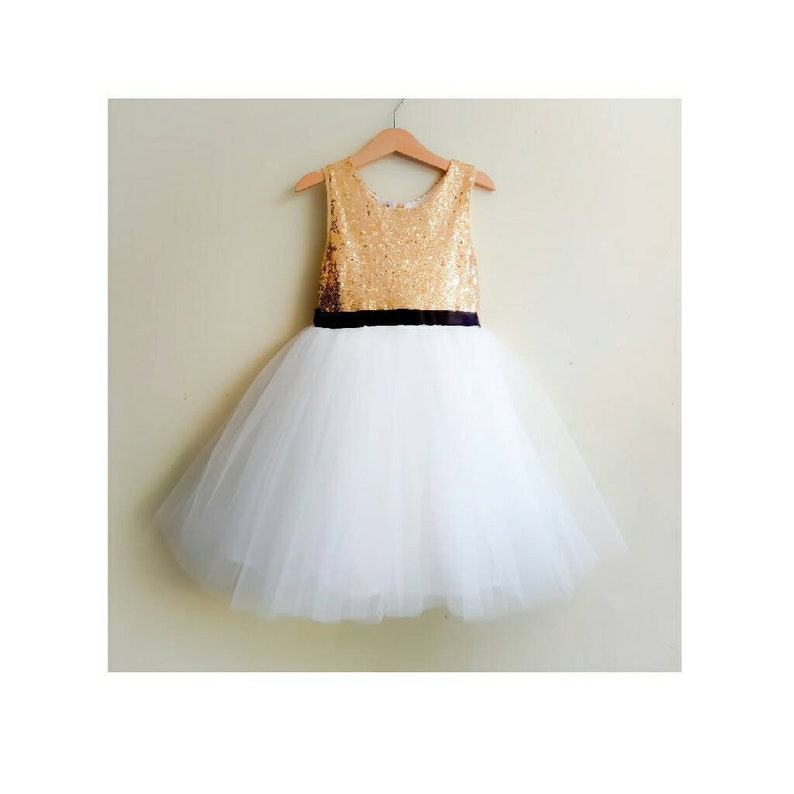 0d55410046a Flower girl dress tutu white and gold with black satin ribbon