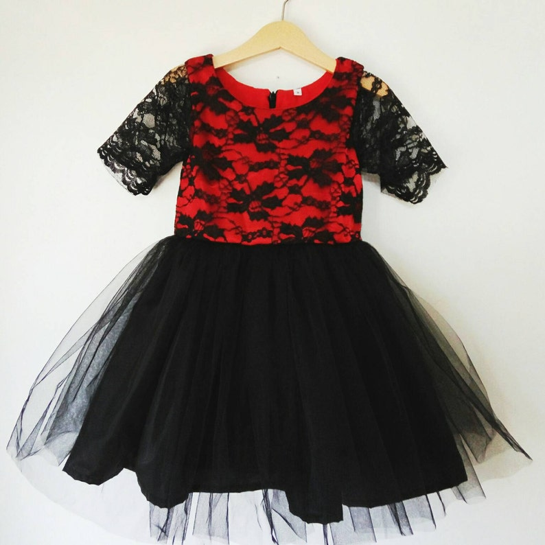 118eb645043 Girl s Dress red and black lace tutu dress flower girl
